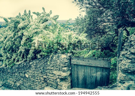 Old stone wall overgrown with blooming tree and wooden door  to the homestead garden. A view on the valley at backgrounds. Rural background. (Chateauneuf du Pape, Provence, France) Aged photo. - stock photo