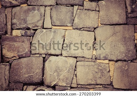 Old stone wall pattern from Osaka castle, Japan, process color - stock photo