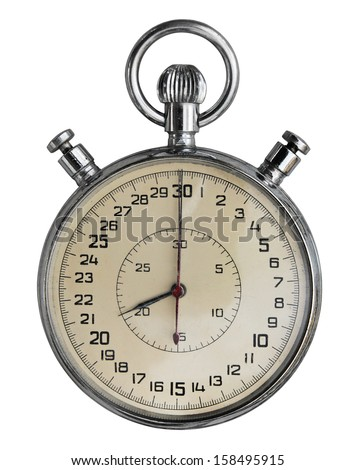 Old stopwatch isolated on white. Clipping path included. - stock photo