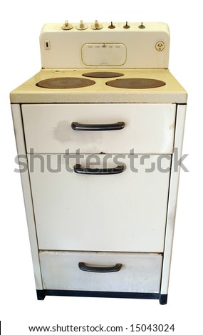 Old Stove isolated with clipping path