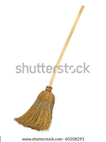 Old straw broomstick ready fly or sweep isolated on white background - stock photo