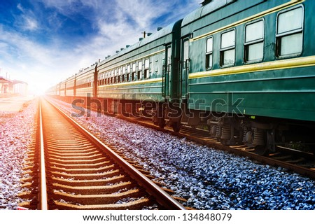 old stream green train - stock photo