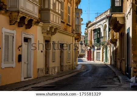 Old street at Victoria town. The capital of the Maltese island Gozo - stock photo