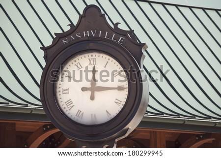 Old street clock in Nashville, Tennessee, USA - stock photo