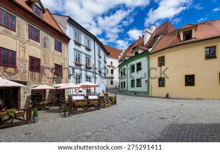 Old street in Cesky Krumlov, Czech republic - stock photo