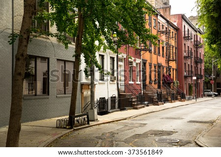 Old Street in Greenwitch Village New York - stock photo