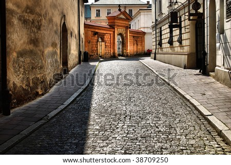 old street in Krakow, Poland. See more in my portfolio. - stock photo