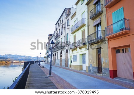 Old street in Mora de Ebro.Catalonia.Spain - stock photo