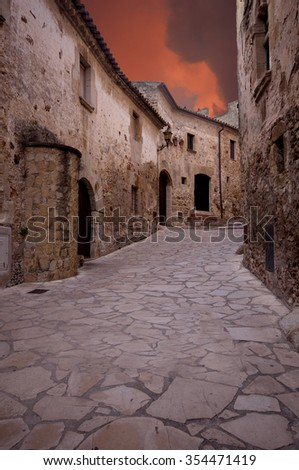 old street in Pals.Catalonia.Spain - stock photo