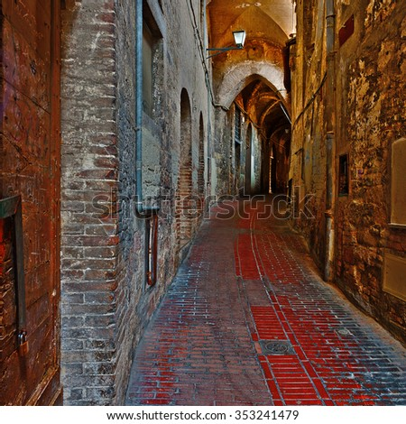 Old Street in the Historic Center of the City of Perugia in Italy - stock photo