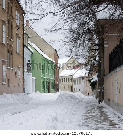 Old street in town Bratislava in winter