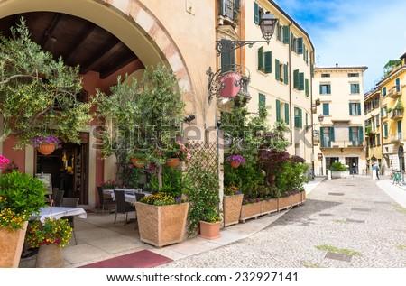 Old street in Verona, Italy - stock photo
