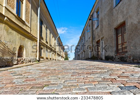 Old street in Vyborg, Russia - stock photo