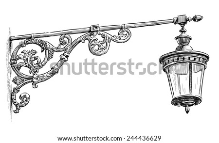 old street lamp - stock photo