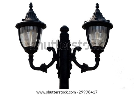 old street lamp isolated on white - stock photo
