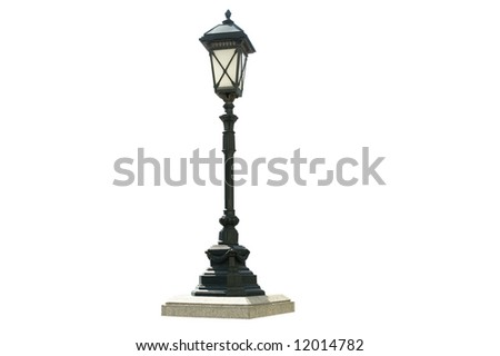Old street lamp on isolated with clipping path