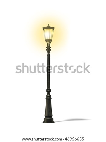 old street lamp on the white background