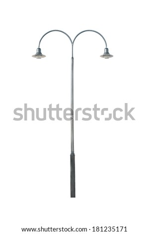 Old street lamppost isolated on white background - stock photo