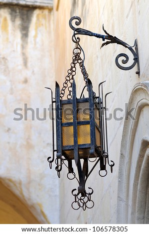 Old street light in Mdina, Malta - stock photo