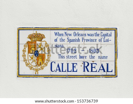 old street name Calle Real painted on tiles in the French quarter in New Orleans - stock photo