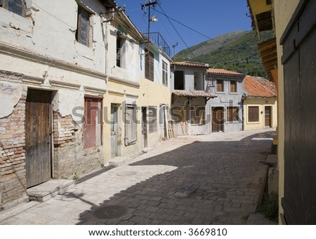 Old street of Bar town in Montenegro
