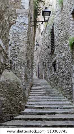 Old street of Girona,Catalonia.Spain - stock photo