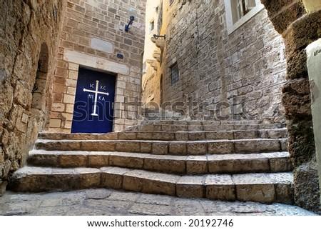 Old street of Jaffa - stock photo