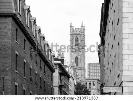 Old Street view in old Montreal in black and white - stock photo