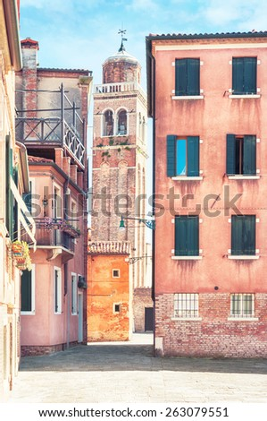 Old street view in Venice, Italy. - stock photo