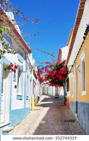 old street with flowers in Algarve, Portugal. - stock photo