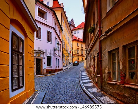old streets in the city of Prague - stock photo