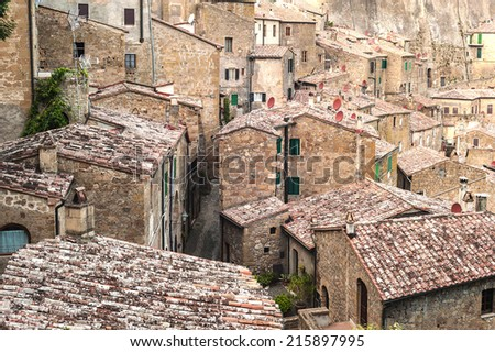 Old streets in the town of Sorano, Italy - stock photo