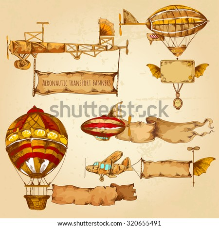 Old style airships with advertising banners hand drawn set isolated  illustration - stock photo