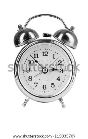 old style alarm clock isolated on white - stock photo