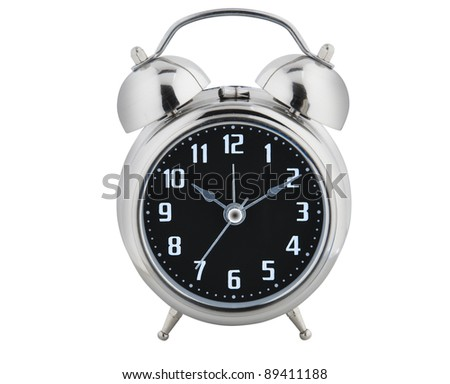 Old style alarm clock isolated on white with clipping path