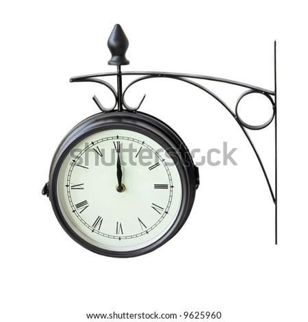 Old style analog clock with roman numbers