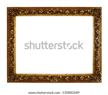 Old style antique wooden craft photo frame isolated on white background, clipping path.