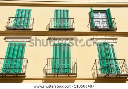 Old Style Balcony Malaga Traditional Spanish Stock Photo Royalty