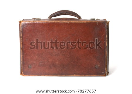 Old style brown leather suitcase isolated on a white background - stock photo