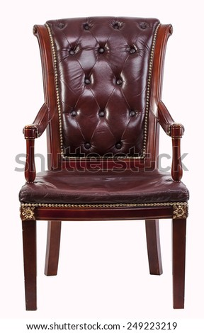 Old style brown vintage armchair isolated on white background - stock photo