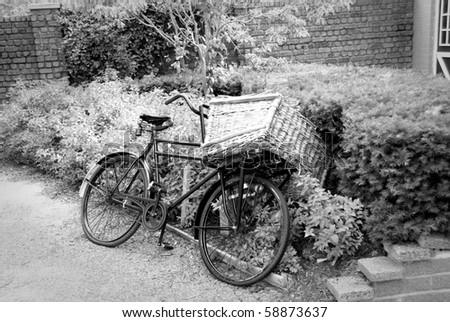 Old style carrier Bike with basket on the front (Dutch Bakfiets) in Black & White