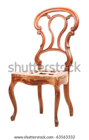 Old-style chair isolated on white background - stock photo