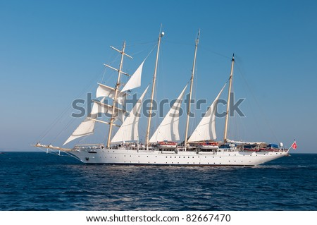 Old Style Clipper Ship in Nearly Full Sails in Aegean Sea - stock photo