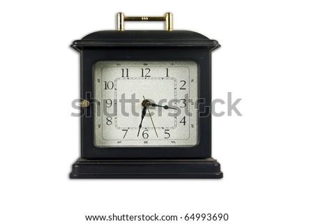 Old style clock isolate on white background - stock photo