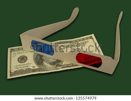 Old Style 3D Glasses Over United States One Hundred Dollar Bill