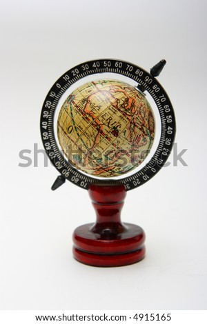 Old - style globe, Africa faced on white background - stock photo