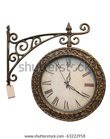 Old style hanging clock with - stock photo