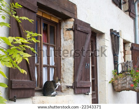 Old-style house in a country with a cat on a window - stock photo