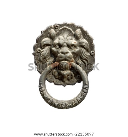 Old style lion's head knocker  isolated on white - stock photo