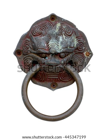 old style lion's head knocker isolated on white background